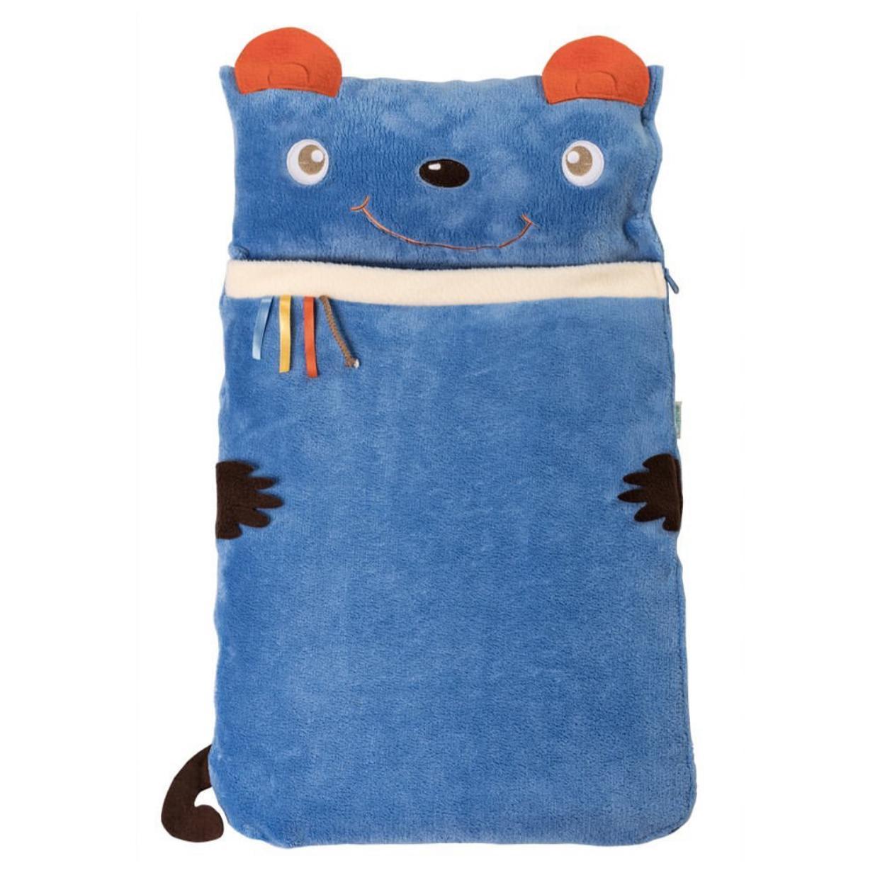 Sleeping bag con almohada azul