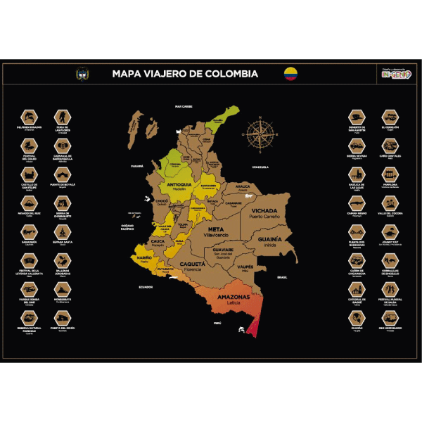 MAPA PARA RASPAR VIAJES POR COLOMBIA