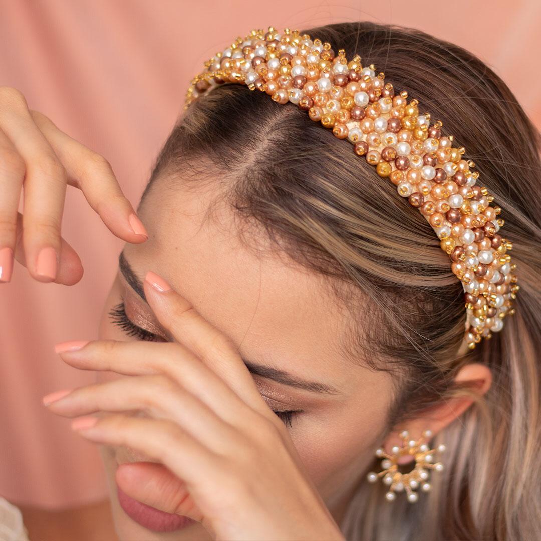 Diadema perlas atenas dorado