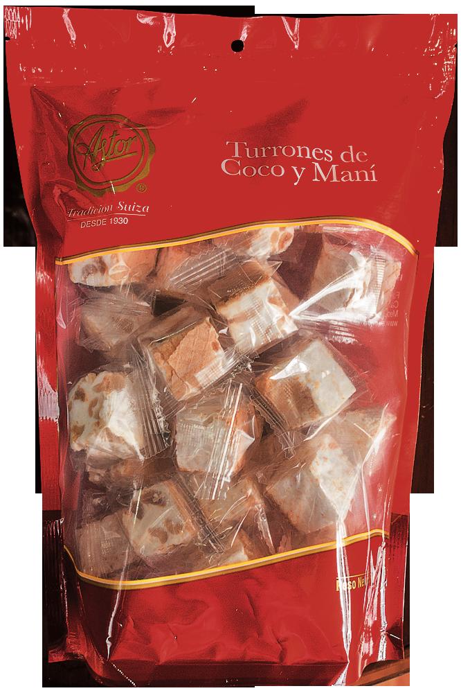 TURRONES DE COCO Y MANÍ PAQ. 500 GR