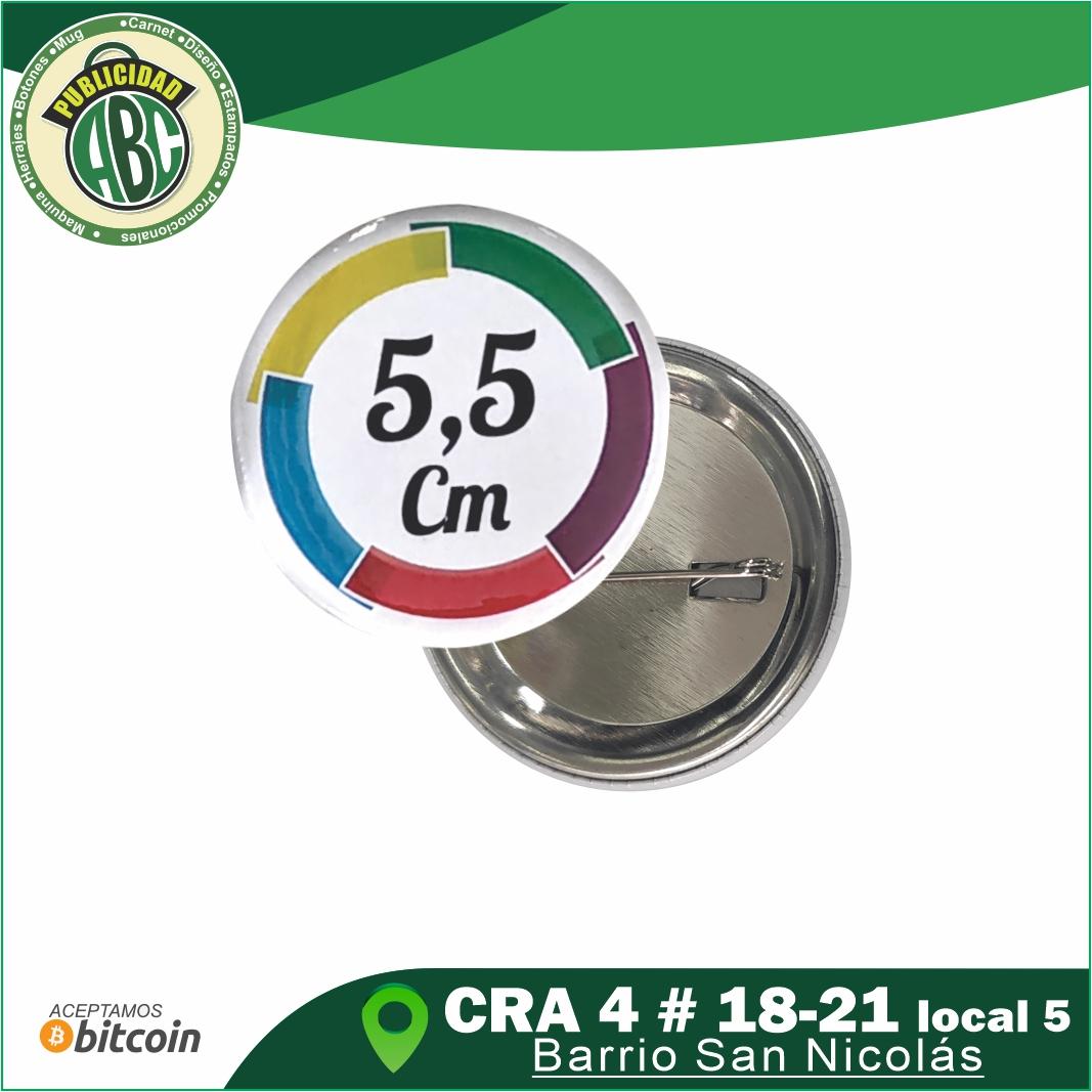 botones publicitarios 5.5 cm