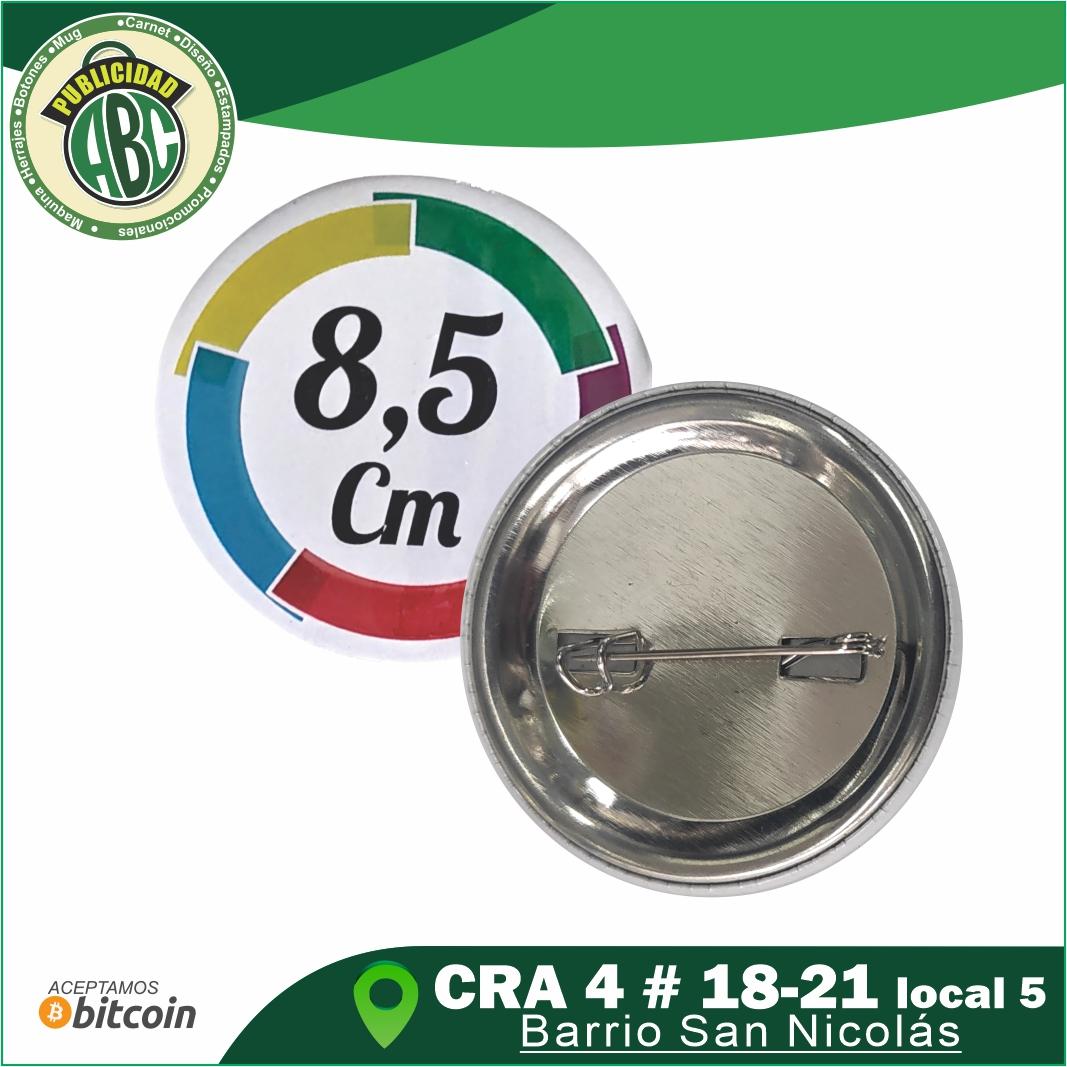 Botones publicitarios 8.5 cm